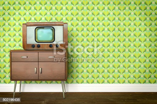 181053292istockphoto Vintage old tv on sixties, seventies wallpaper and furniture 502196435