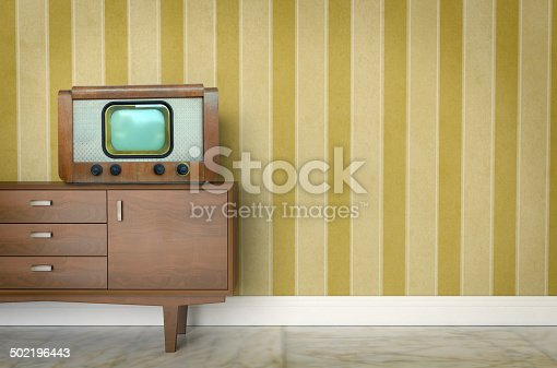 181053292istockphoto Vintage old tv on sixties, seventies wallpaper and furniture 502196443