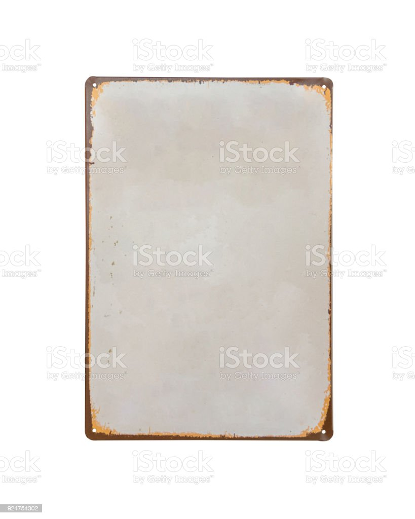 vintage old white Sheet metal banner isolate on white background stock photo