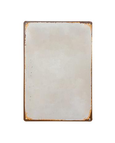 오래 된 빈티지 화이트 판금 배너 흰색 배경에서 분리 0명에 대한 스톡 사진 및 기타 이미지