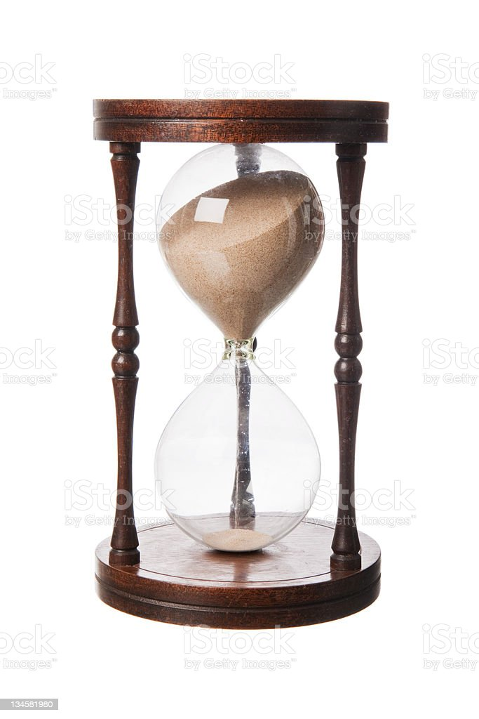 Vintage old wooden Hourglass stock photo