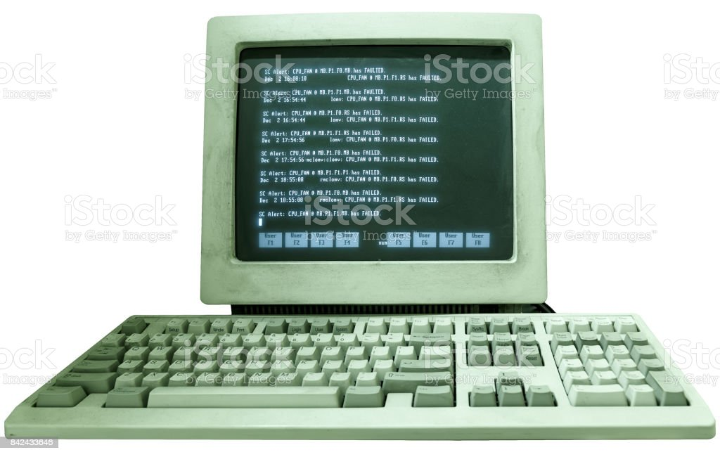 vintage old working computer with the text on the monitor isolate on white background stock photo