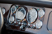 Close up of Vintage Oldtimer dashboard in Hamburg Germany, Canon prime lens used