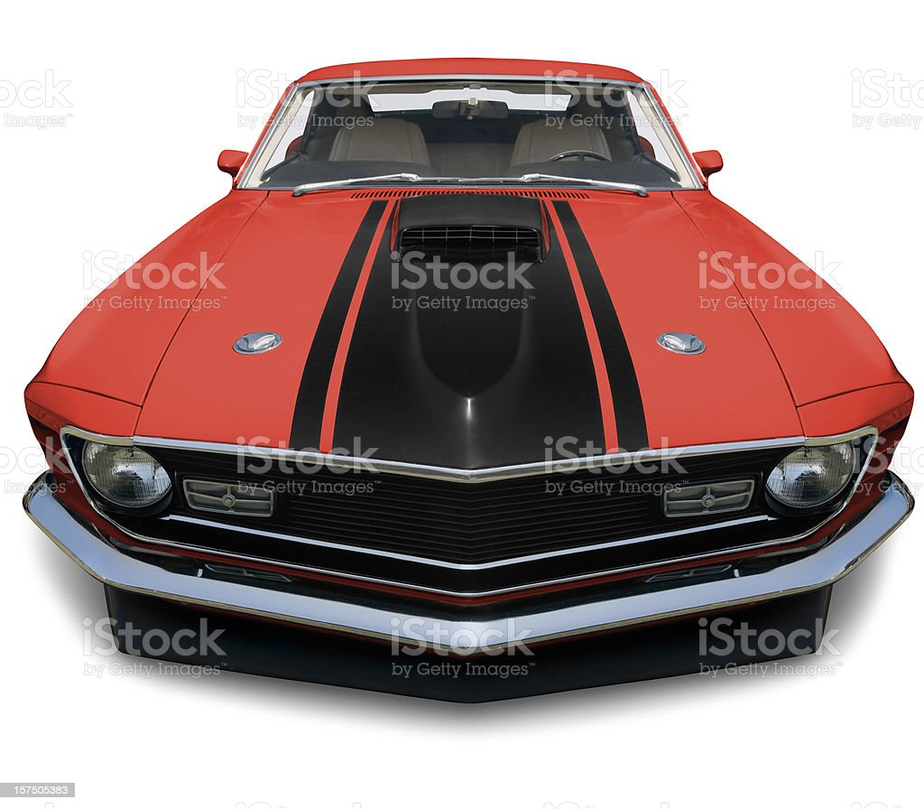 A vintage orange and red 1970 Mustang stock photo