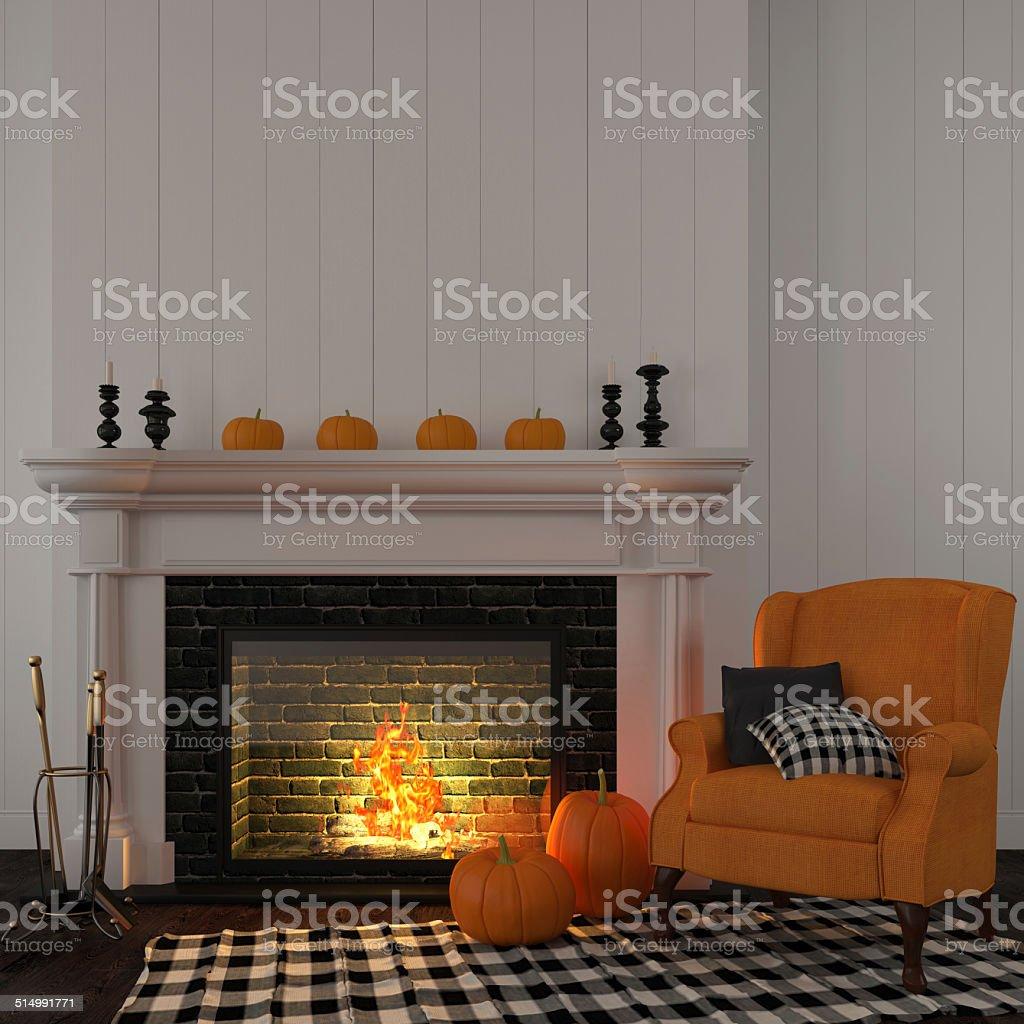 Photo De Stock De Orange Vintage Fauteuil Pres De La Cheminee Images