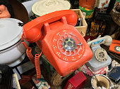 Buenos Aires, Argentina - April 7, 2019: Close up view of vintage rotary phone for sale at flea market in San Telmo neighborhood. This kind of devices were widely use in the country in the 20th century
