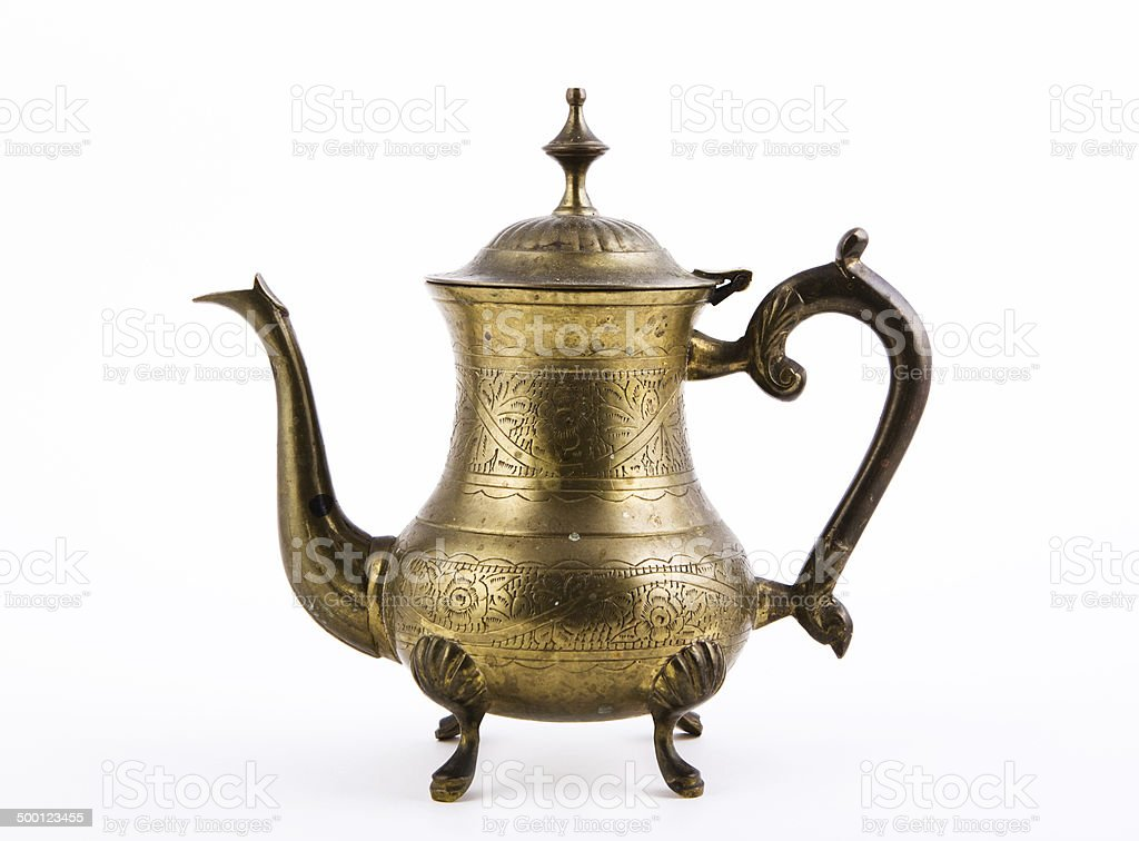 vintage oriental teapot stock photo