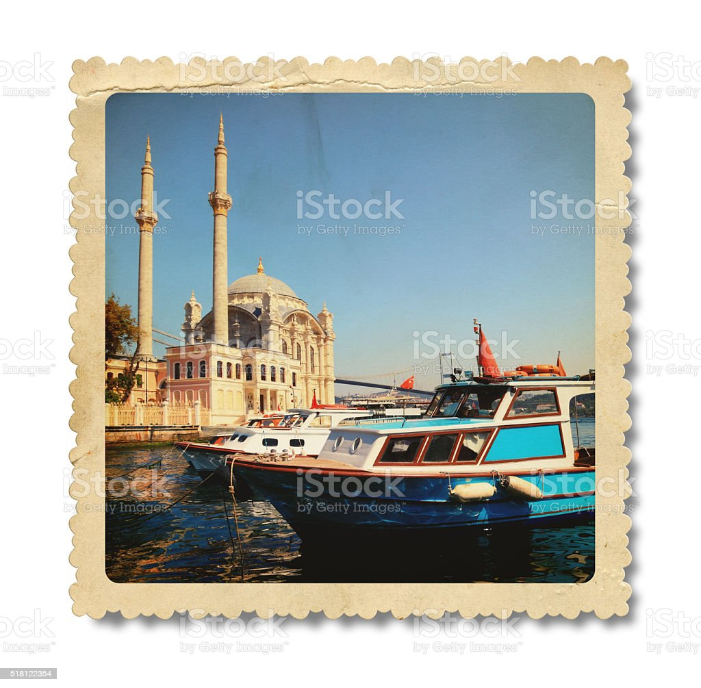 Vintage Ortakoy Mosque Photo (Clipping Path) stock photo