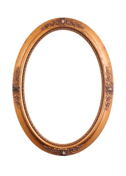 Vintage oval frame on white stock photo