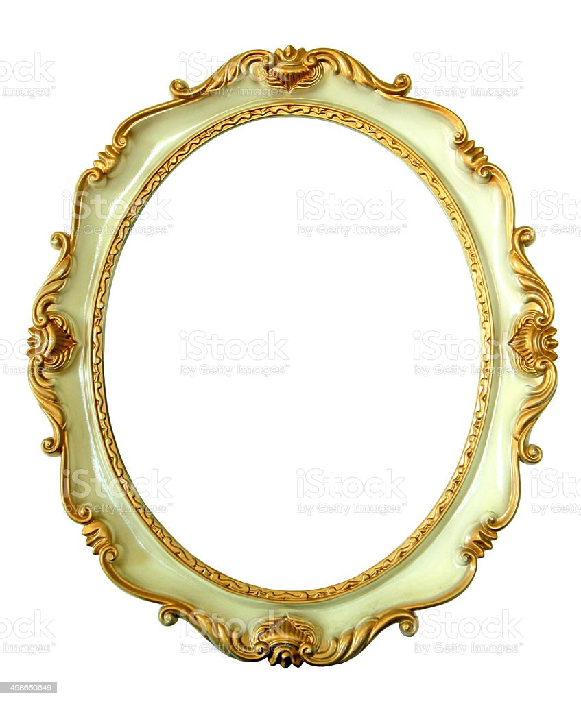Vintage oval golden frame stock photo