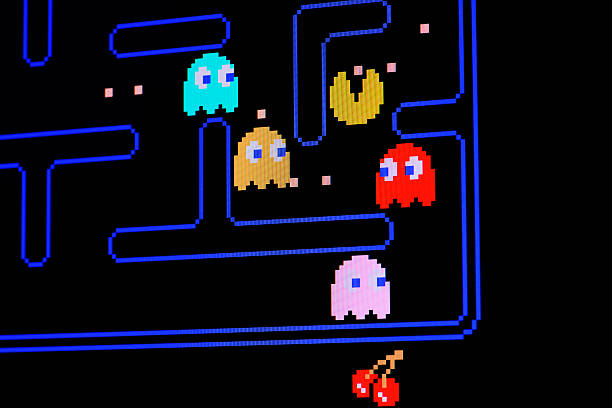 vintage pacman video game - 1980s style stock photos and pictures