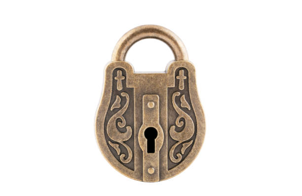 Vintage padlock isolated on white background with clipping path stock photo