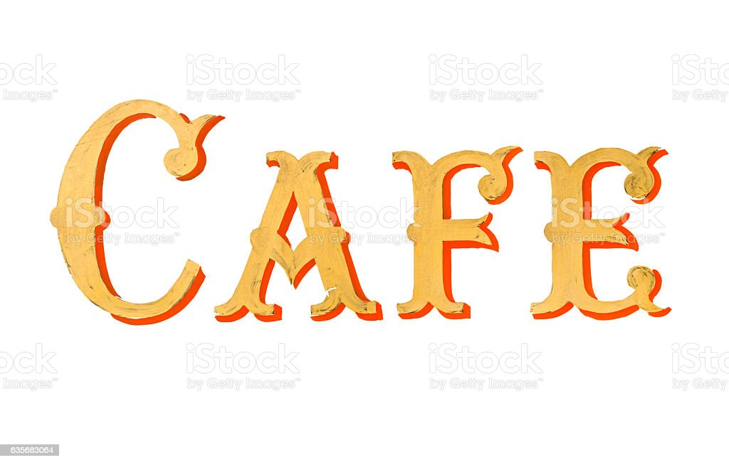 Vintage Painted Cafe Sign stock photo
