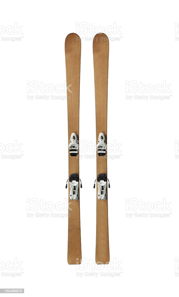vintage pair of skis stock photo