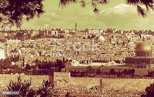 Vintage image of a the Old city of Jerusalem