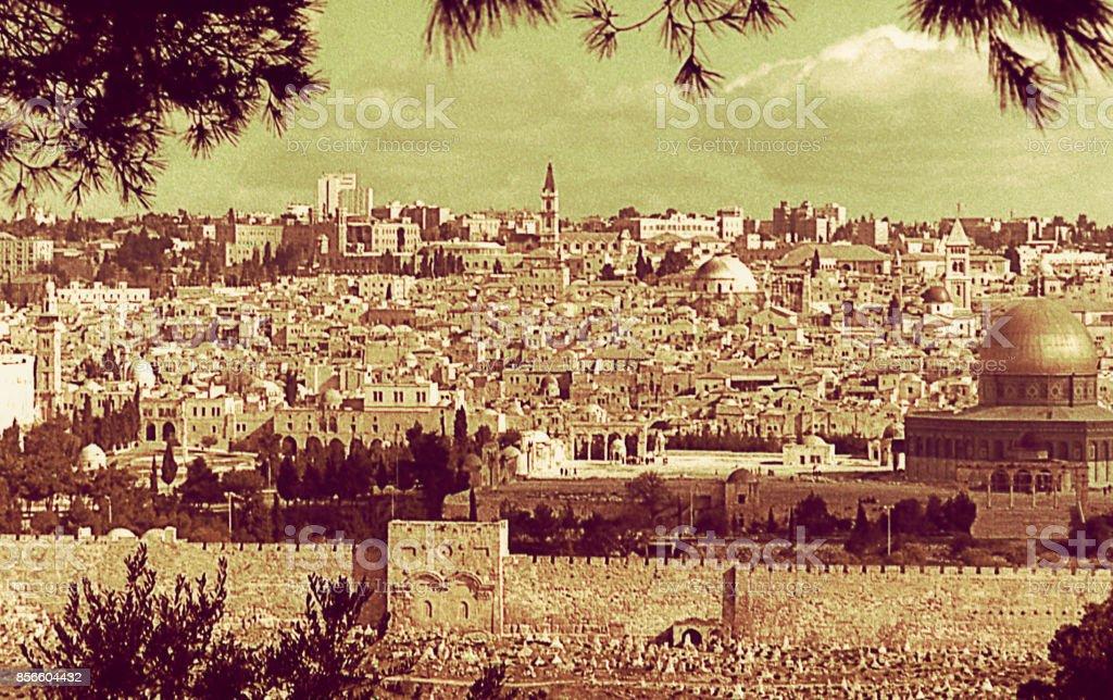Vintage Panorama of Jerusalem stock photo