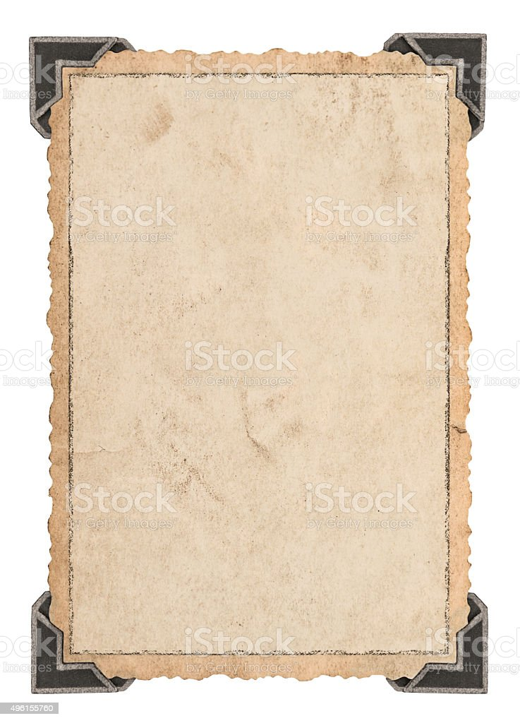 Vintage paper card with corner. Picture frame stock photo