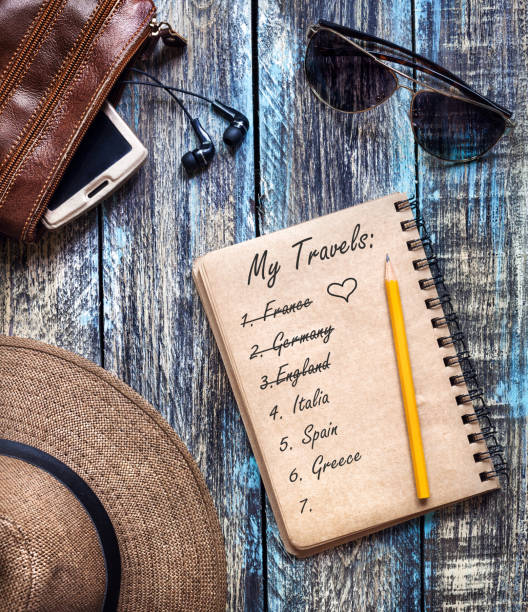 Vintage Paper Diary with travel dream list stock photo