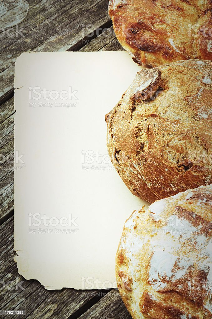 Vintage paper frame with traditional bread royalty-free stock photo