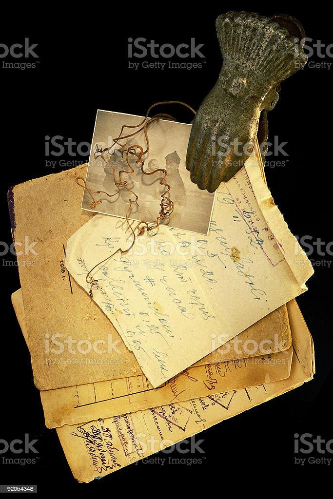 Vintage paper manuscripts royalty-free stock photo