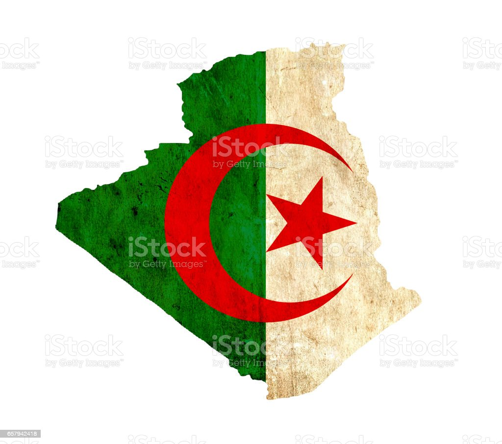 Mapa de papel vintage de Argelia - foto de stock