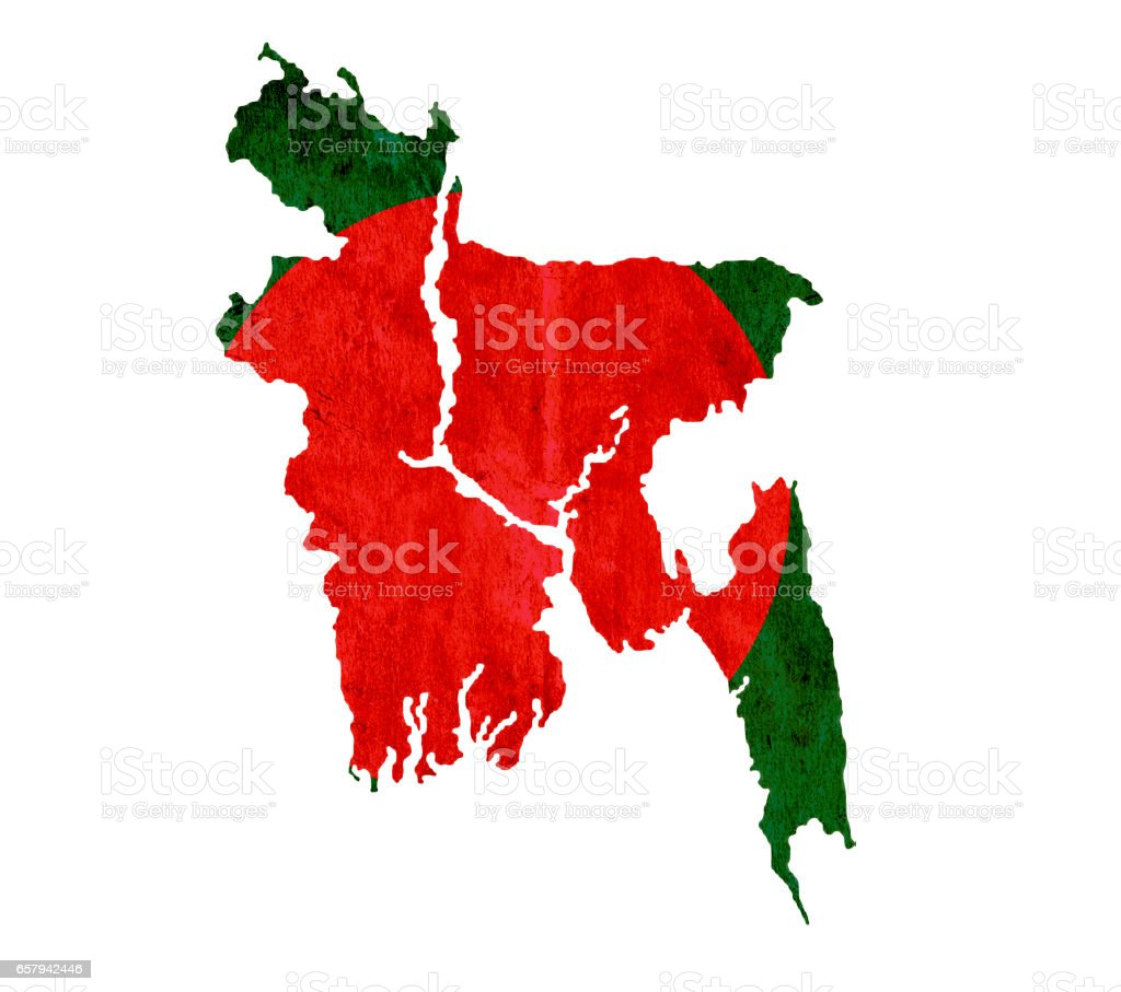 Vintage paper map of Bangladesh stock photo