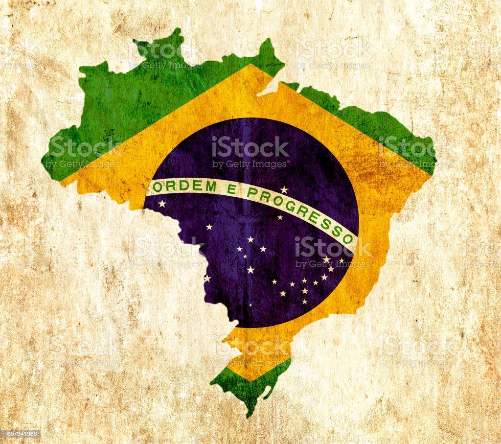 Mapa de papel vintage do Brasil - foto de acervo