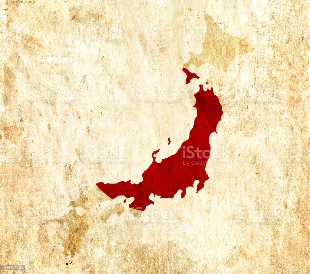 Vintage Paper Map Of Japan Royalty Free Stock Photo
