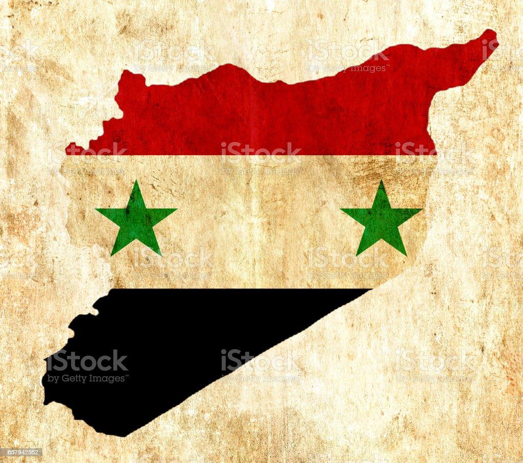 Mapa de papel vintage de Siria - foto de stock