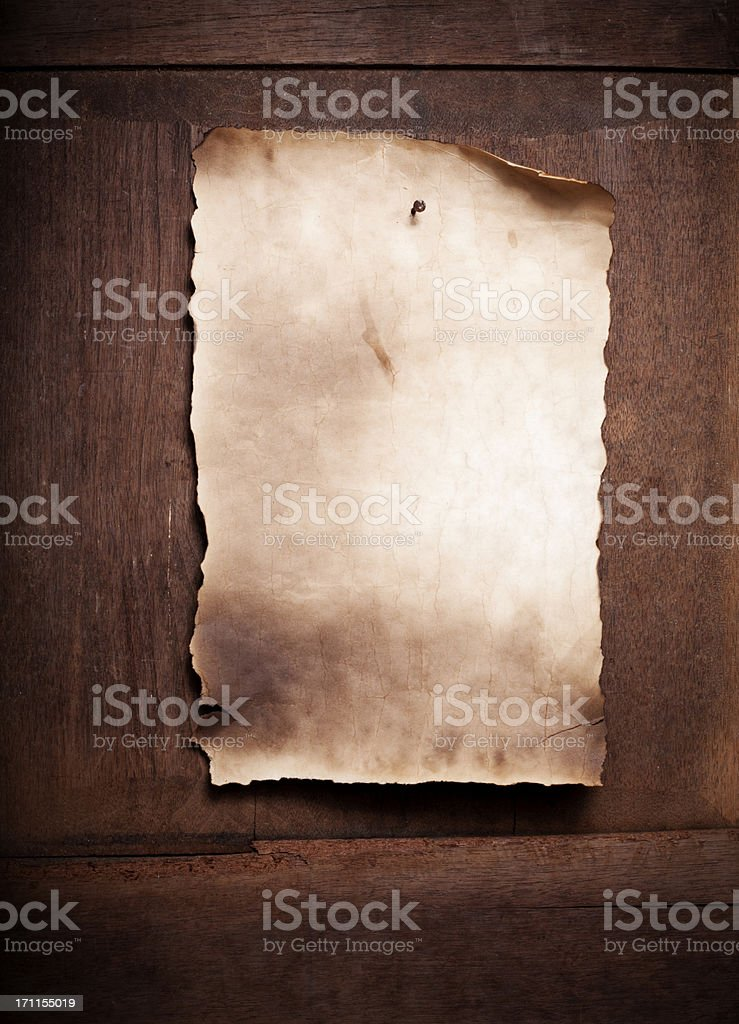 Vintage Paper on Wooden Door stock photo