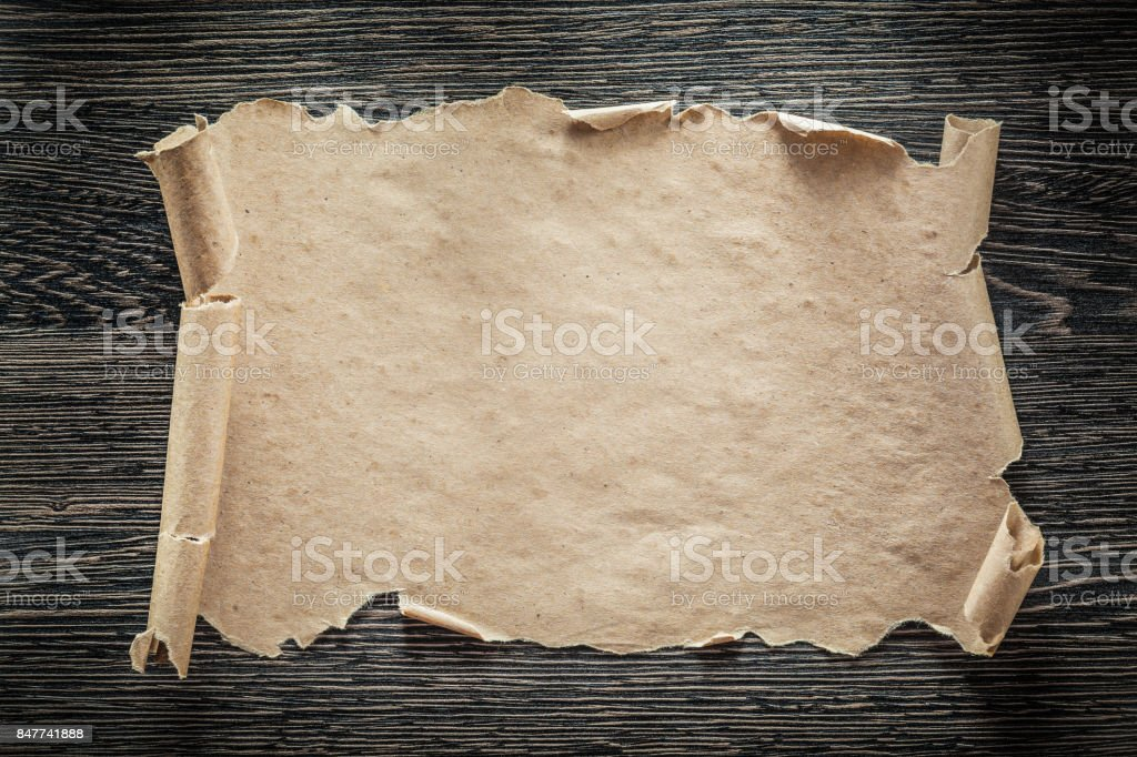 Vintage paper roll on black board stock photo