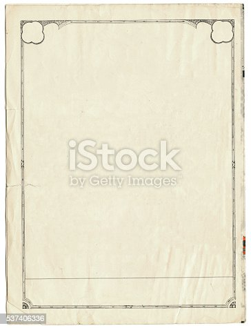 istock Vintage Paper with Border 537406336