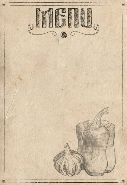 vintage paper with hand drawn pepper and garlic. restaurant menu background - menù foto e immagini stock