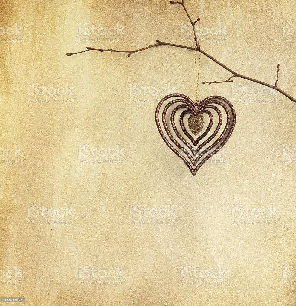 vintage paper  with  heart royalty-free stock photo