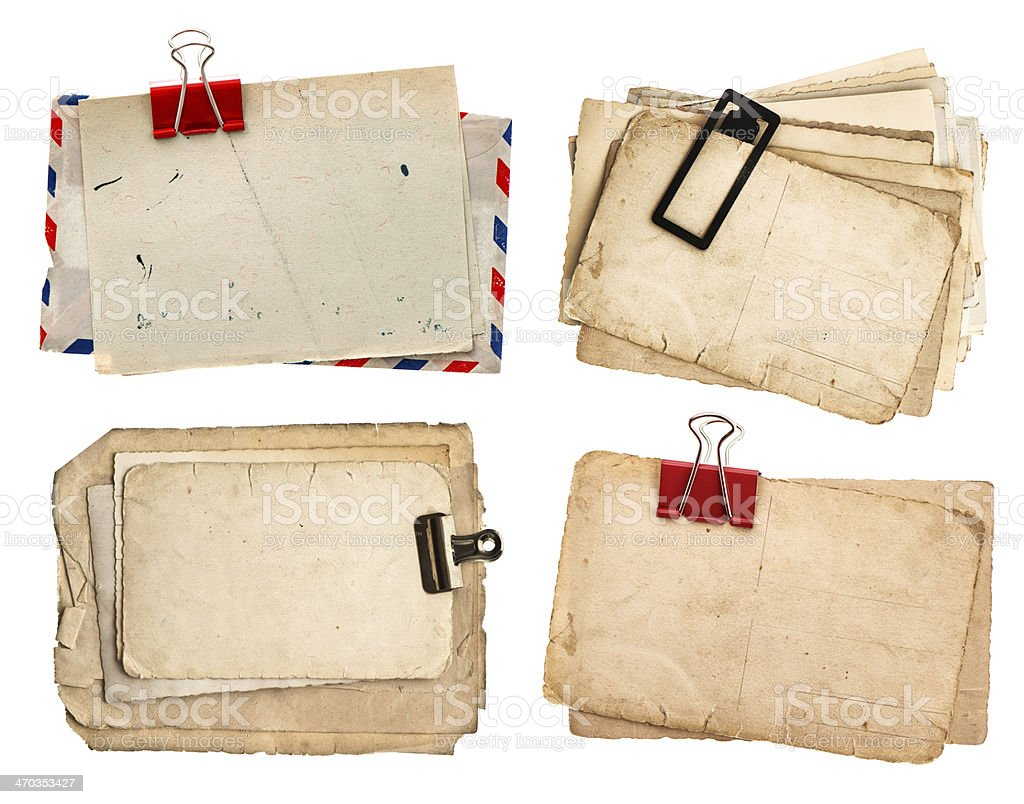 vintage papers and postcards isolated on white royalty-free stock photo