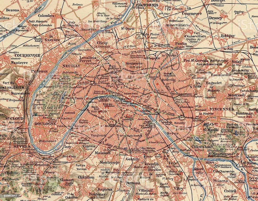 Vintage Paris Map 1880s, Ephemera. stock photo