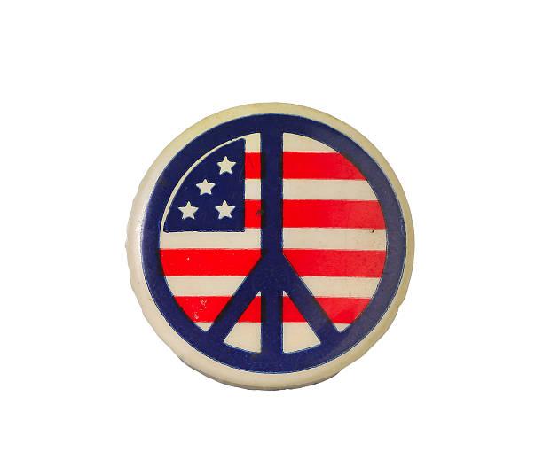 Vintage peace button stock photo