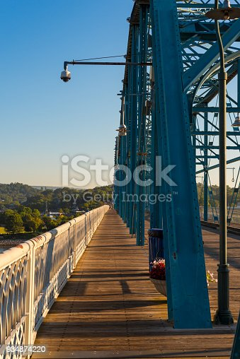 The old Walnut Street bridge in Chattanooga, restored as a pedestrian crossing over the Tennessee River