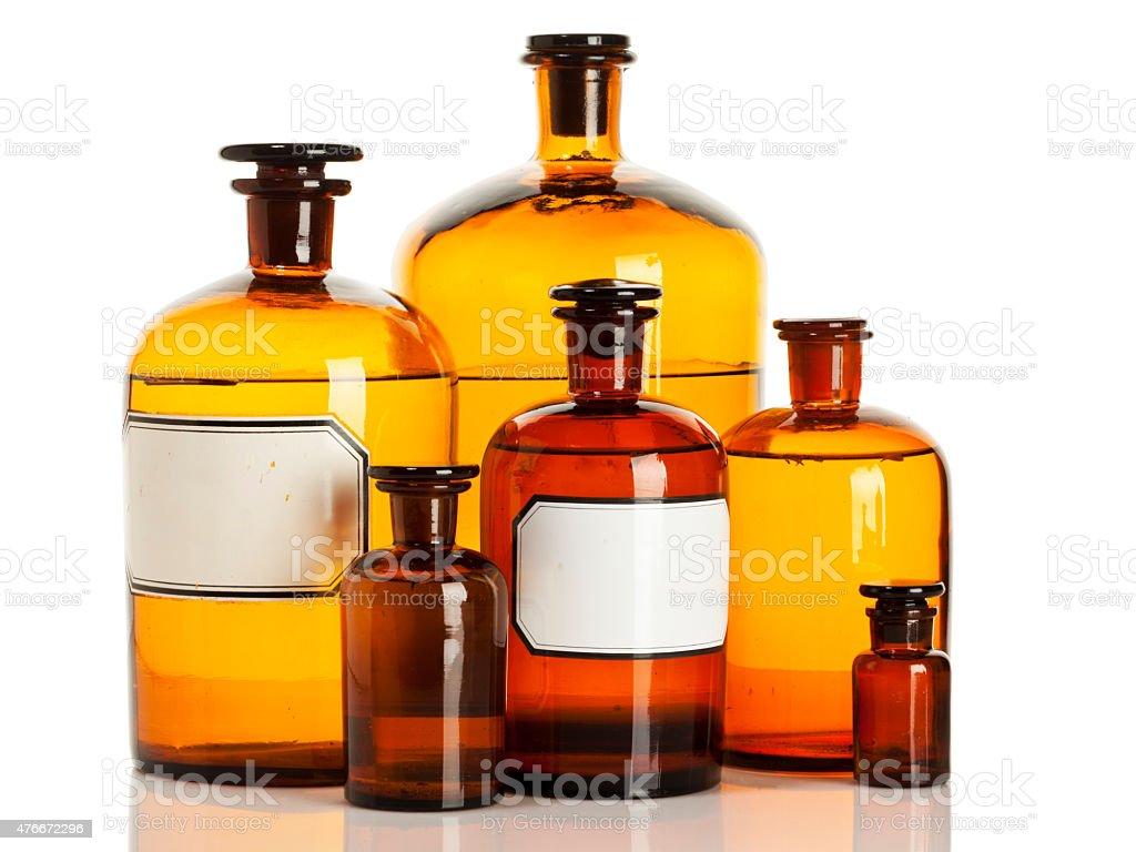 Vintage Pharmacy bottles isolated stock photo