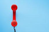 Vintage phone, flat lay.