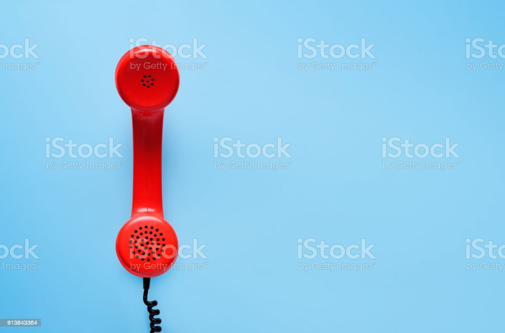Vintage phone, flat lay. stock photo