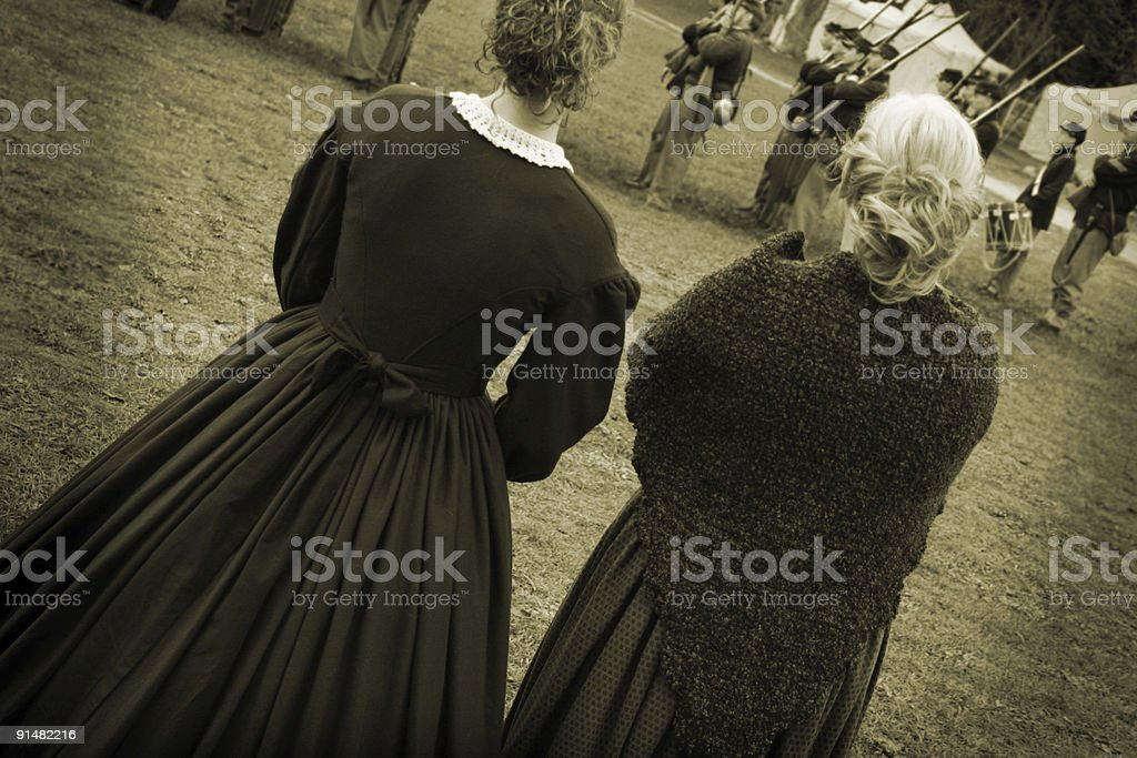 Vintage Photo: 1960s Civil War Women Watching Soldiers Drill stock photo