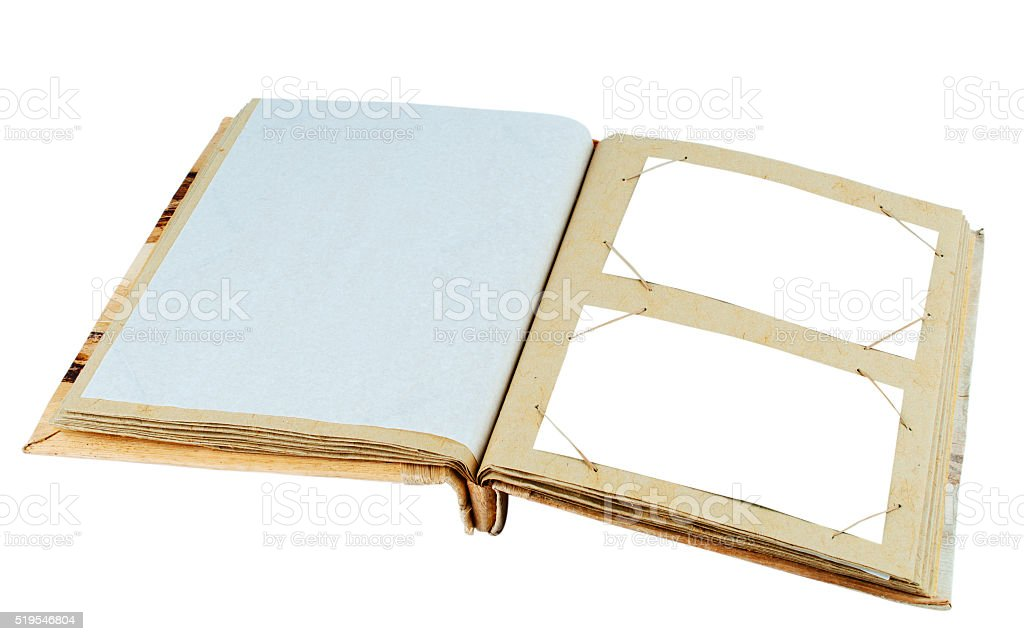 Vintage photo album cardboard deployed page. stock photo