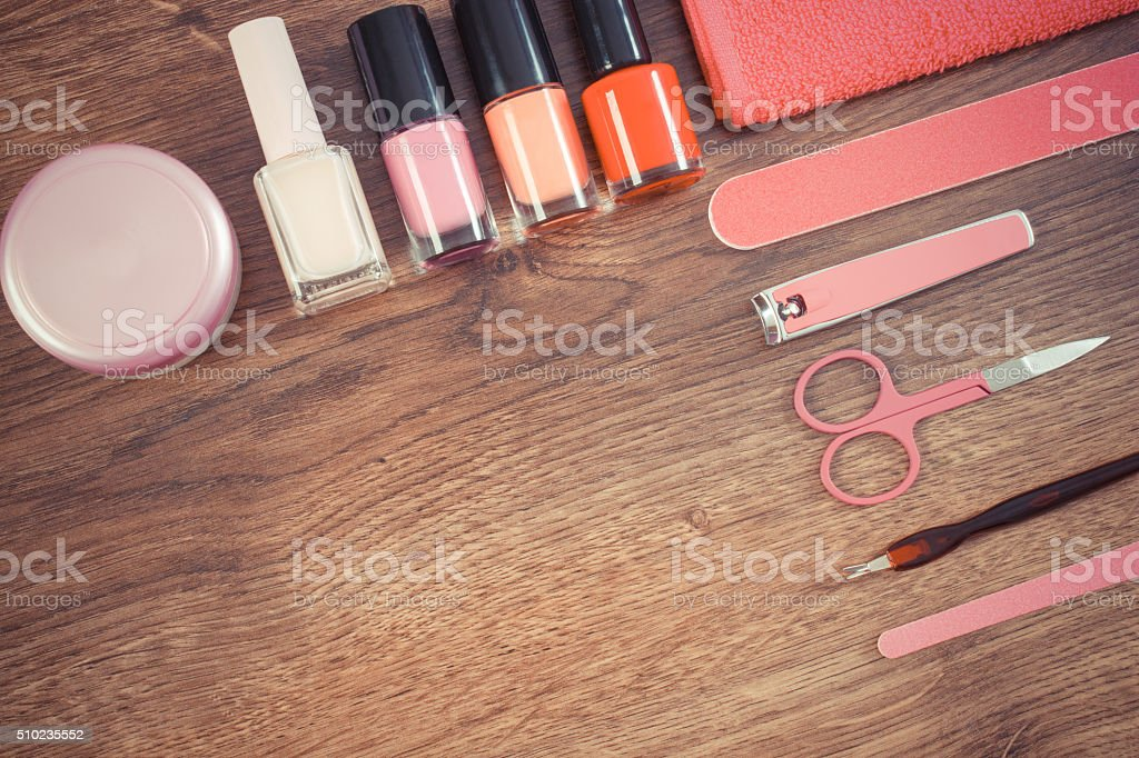 Vintage photo, Cosmetics and accessories for manicure or pedicure stock photo