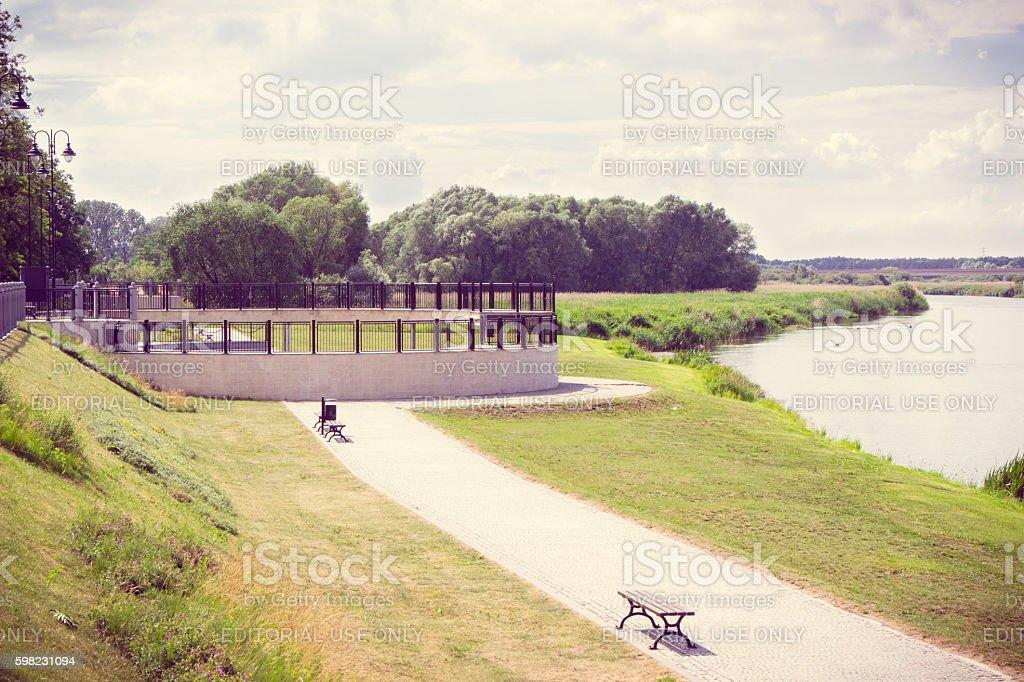 Vintage foto, Barragem de esmalte Warta rio da cidade, Konin foto royalty-free