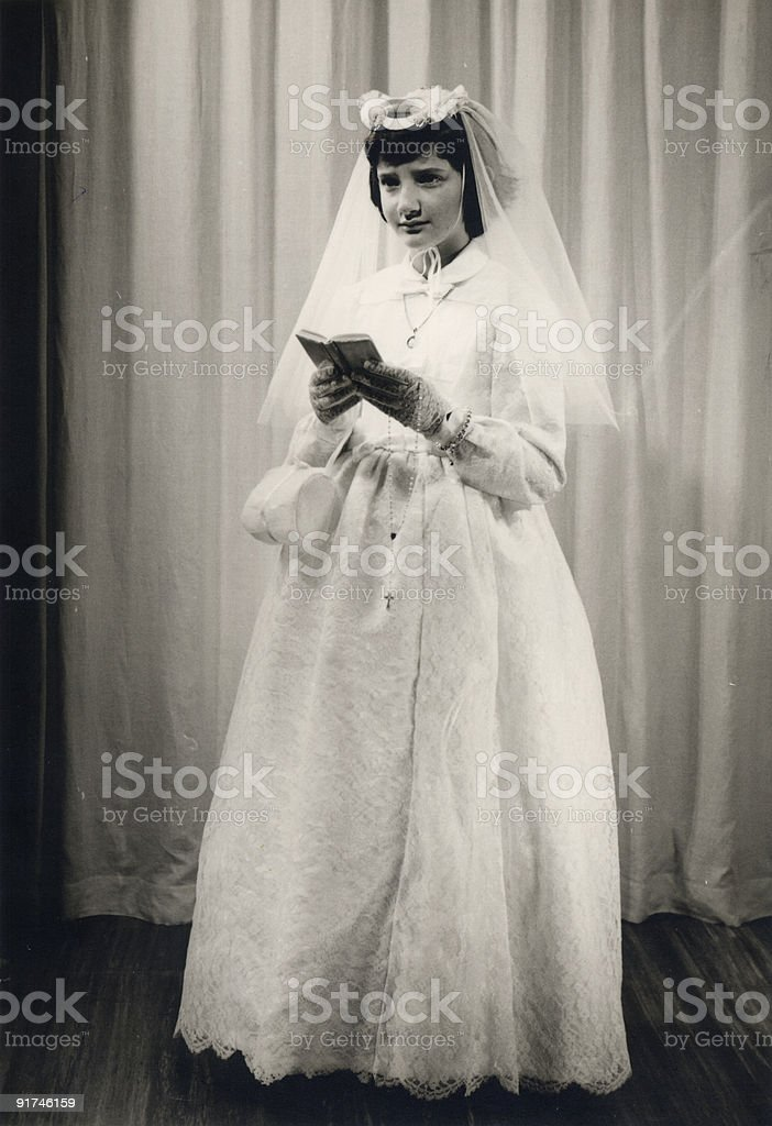 Vintage photo - First Communion royalty-free stock photo