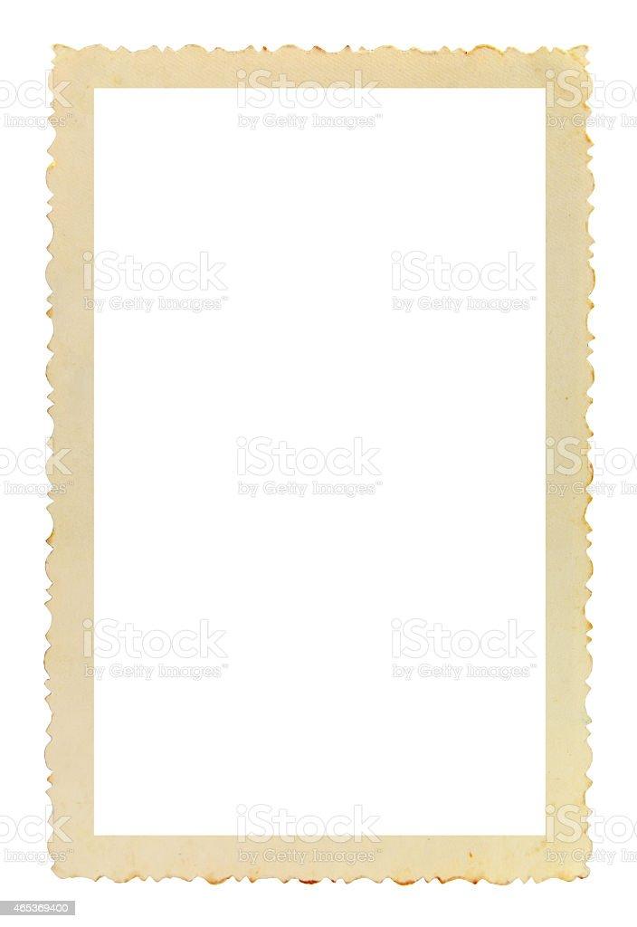 Vintage photo frame on white background stock photo
