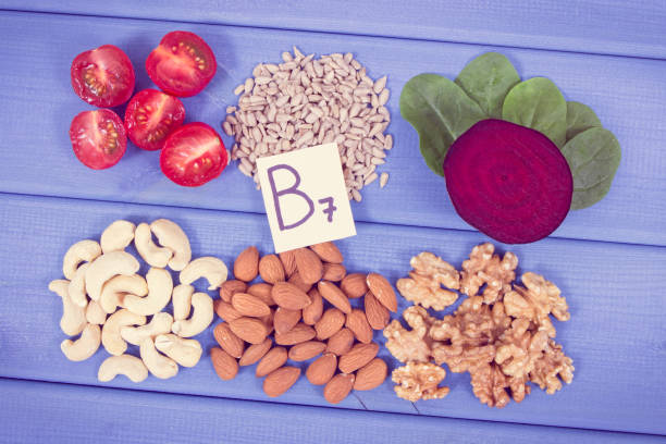 Vintage photo, Healthy products as source minerals, vitamin B7 and fiber, nutritious eating concept stock photo