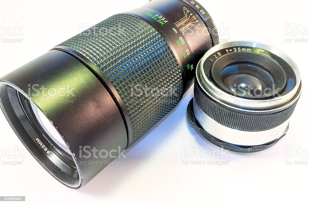 Vintage photo lenses. Color image stock photo
