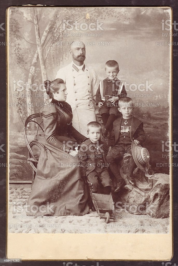 Vintage photo of a family stock photo